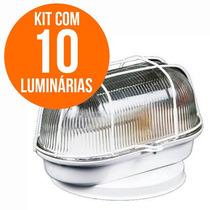 Kit 10 Luminárias Arandela Tartaruga Teto Parede Branca