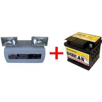 Luminária De Emergência 2x55w Com Bateria 12v 45ah C/suporte