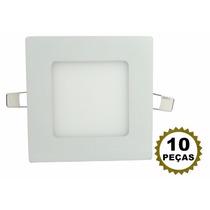 10 Luminária Led Plafon 6w Embutir Teto Painel Quadrado