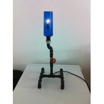Luminária Artesanal Abajur - Garrafas Conexoes Pvc
