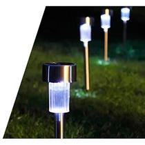 Luminária Solar De Jardim Em Inox / 4 Peças + Frete Grátis