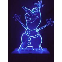 Luminária Led Á Pilha Tema Frozen Olaf