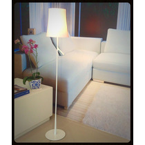 Abajur Coluna De Chão Moderno Branco Para Sala Ou Quarto
