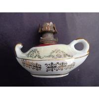 Antiga Lamparina Porcelana Florida Dourada Década 50