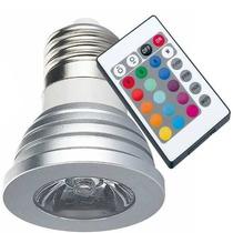 Lâmpada Led Rgb Spot E27 3w Bivolt 16 Cores Controle Remoto