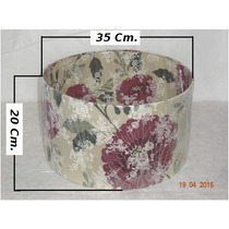 Cúpula P/ Abajur Cilíndrica Floral 35x35x20 Em Tecido 1 Pç.