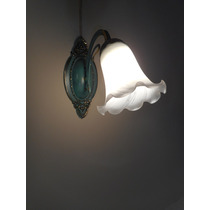 Arandela De Metal E Bronze. Tulipa Vidro Murano Cod 96216