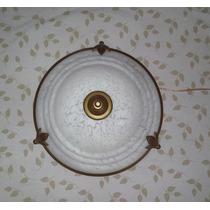 Plafon Com Garra Vidro Murano Branco Com Ambar