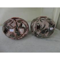 #14696 - Par Cúpulas De Teto Cerâmica Vitrificada, Antigas!!