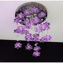 Lustre Floral Em Cristal Egípcio Asfour E Flores Em Acrílico