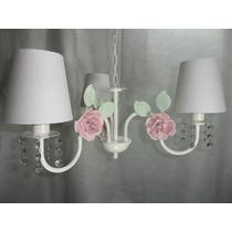 Lustre Luminária Quarto Bebê-com Cristal Strass, Cúpula,flor