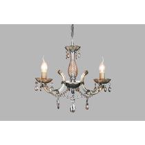 Lustre Vidro+cristal Maria Tereza 3 Lamp.e14 - Champagne