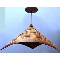 Luminária Rústica Artesanal Triangular, Em Madeira 45x25cm