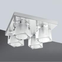 Plafon Vidro Cristal 4 Cubos Para Sala Quarto - Golden