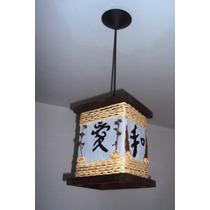 Lustre Estilo Oriental Rustico Ideograma Japonês Luminária