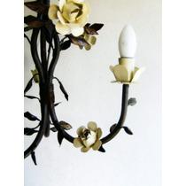 Lustre Rústico - Luminaria De 3 Braços Com Flores