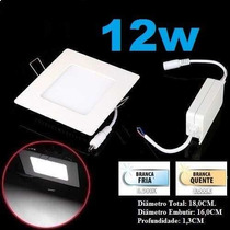 20 Painel Plafon Luminaria Led Quadrado Embutir Slim 12w