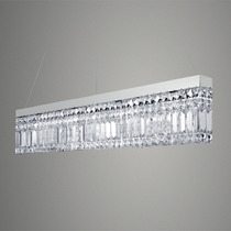 Pendente Retangular De Cristal Lustre Sala Luminária Quarto