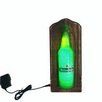 Luminoso Heineken Com Led Madeira Para Bar - Barzinho.
