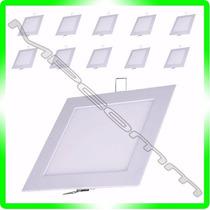 Kit Com 10 Painel Plafon Luminaria Led Embutir Quadrado 18w
