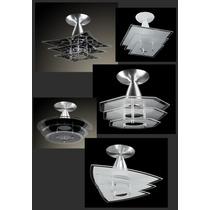 Plafon, Luminária De Teto. Vidro Preto. Alumínio.