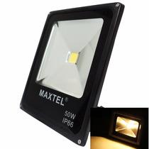 Holofote Refletor Led 50w Biv Bco Quente Prova Dagua Maxtel