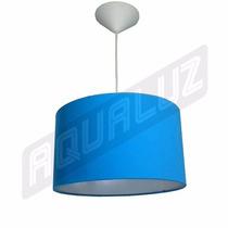 Luminária Pendente Cilíndrica Tecido Azul Turquesa 30cm