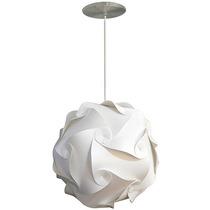 Luminária Lustre Pendente 1 Bola Mexicana 45 Cm Branca