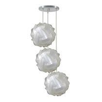 Luminária Tripla Lustr Pendente 3 Bolas Mexicana 25cm Branca