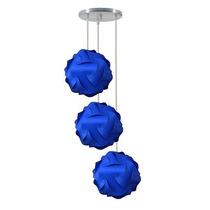 Luminária Tripla Lustre Pendente 3 Bolas Mexicana 25cm Azul