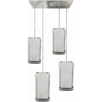 Iluminação Pendente C/ 4 Vidros Quadrados Fosco