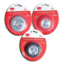 Luminária De Toque - 3 Leds - Kit 3 Unidades - Pilha Grátis