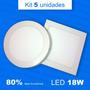 5 Painel Plafon Luminaria Sobrepor Super Led 18w Alto Brilho