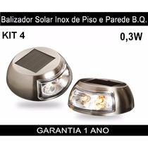 Luminária Balizador Led Solar Inox Piso Parede Amarelo Kit 4