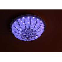 Lustre Plafon De Cristal 5 Lamp.e27+ Led + Controle Remoto