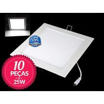 Kit 10 Painel Plafon Led 25w Luminaria Spot Embutir Bivolt