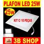 Painel Plafon Luminaria Led Quadrado Embutir Slim 25w -10 Pc