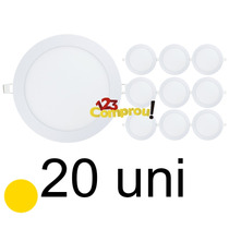 Kit 20 Painel Plafon 18w Led Embutir Redondo Branco Quente