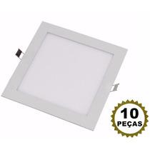 10 Luminaria Led 18w Plafon Quadrado Embutir Teto Gesso