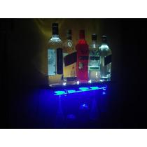 Prateleira Luminosa Para Garrafas E Taças Bar