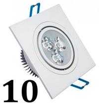 10 Spot Led Quadrada Branco Luz Branca Fria 3w Teto Sanca