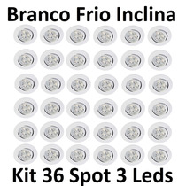 Kit 36 Luminárias Embutir Spot 3 Led Inclinável Branco Frio