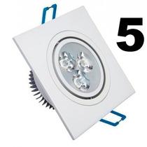 05 Spot Led Quadrada Branco Luz Branca Fria 3w Teto Sanca