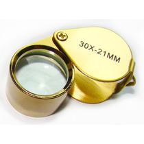 Mini Lupa 30x 21mm Gota Inox - Dourada - Luxo - Profissional