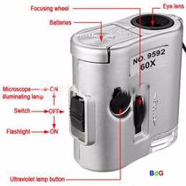 Mini Microscópio Lupa Contafio 60x Luz Branca/uv