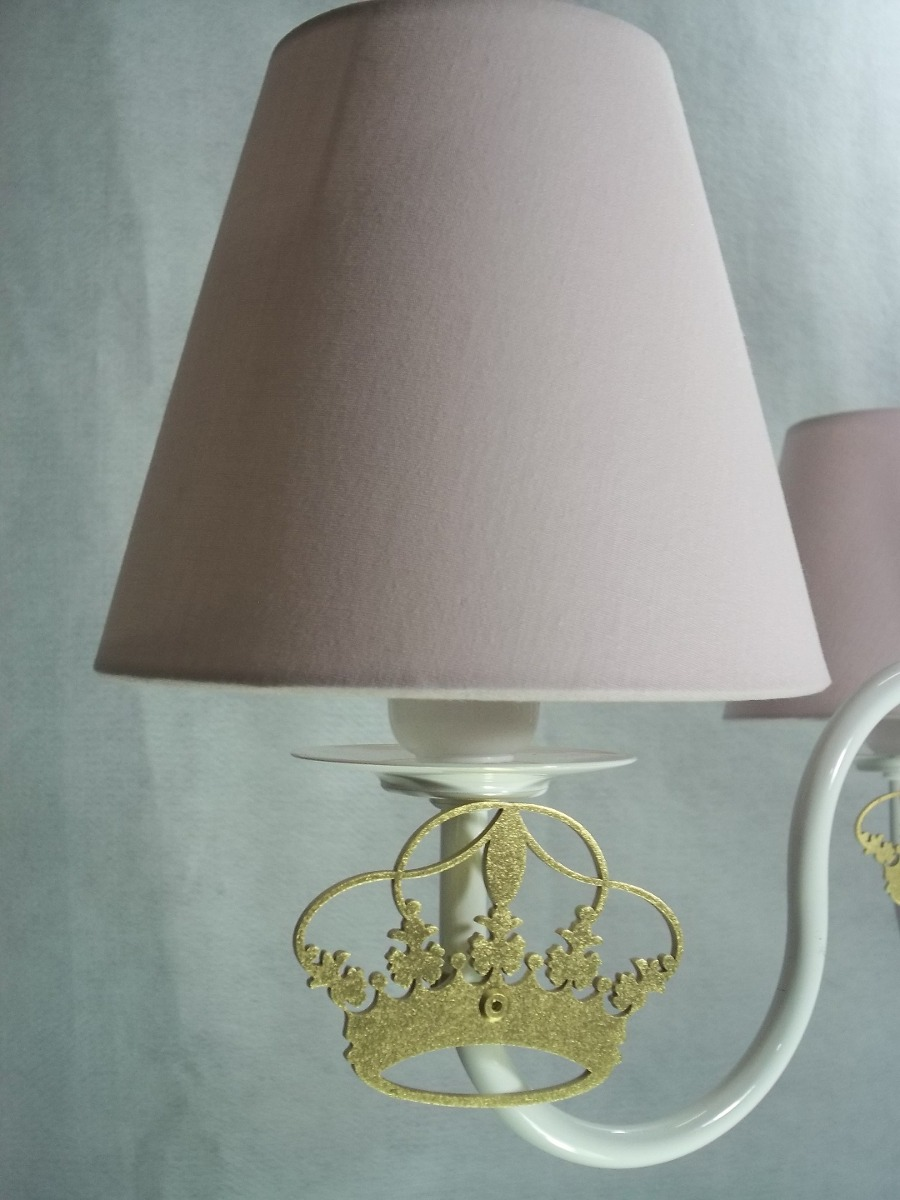 Luminaria Quarto Bebe Mercadolivre ~   Com Coroa Dourado Para Quarto Beb? Menina  R$ 191,50 no MercadoLivre