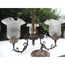 Lutres Antigos De Bronze Cristal Italiano Anos 50