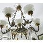 Lustre De Bronze E Opalina Com 6 Braços E 7 Lampadas