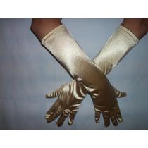 Luva Cetim Dourada Longa C/ Lycra Festa Fantasia Cosplay