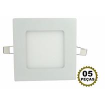 5 Luminaria Led Plafon 6w Embutir Teto Painel Quadrado Gesso
